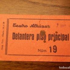 Cine: ENTRADA - TEATRO ALKAZAR - VALENCIA - DELANTERA PISO PRINCIPAL - AÑOS 50'S 60'S. Lote 183202055