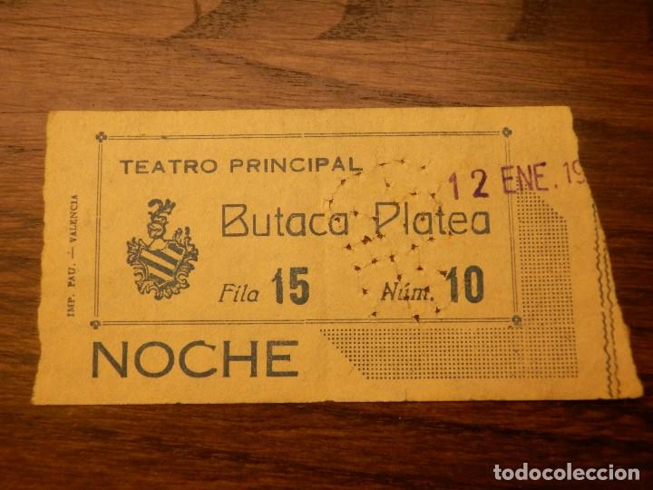 ENTRADA - TEATRO PRINCIPAL - VALENCIA - BUTACA PLATEA - AÑOS 50'S (Cine - Entradas)