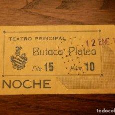 Cine: ENTRADA - TEATRO PRINCIPAL - VALENCIA - BUTACA PLATEA - AÑOS 50'S. Lote 183202383
