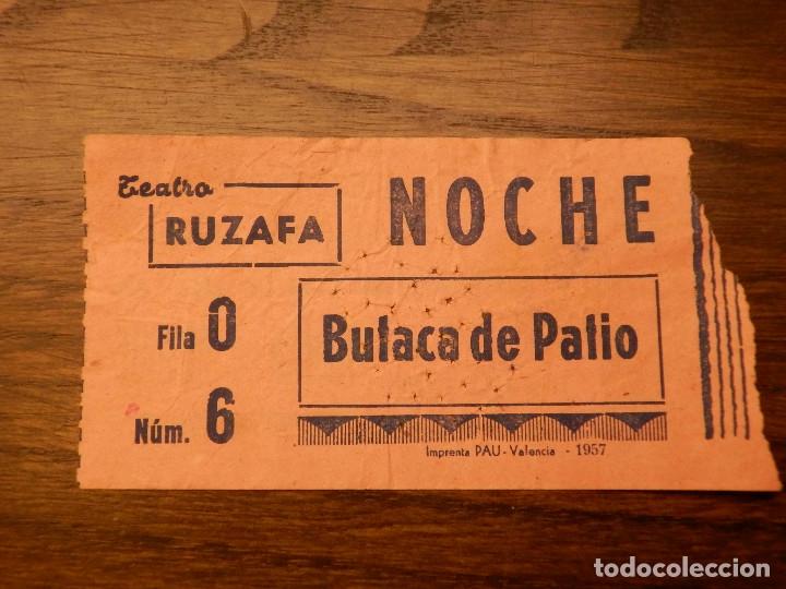 ENTRADA - TEATRO RUZAFA - VALENCIA - BUTACA DE PATIO - NARANJA - AÑOS 60'S 70'S (Cine - Entradas)