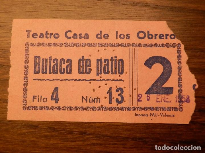 ENTRADA - TEATRO CASA DE LOS OBREROS - VALENCIA - BUTACA DE PATIO - ROSA - AÑOS 60'S 70'S (Cine - Entradas)