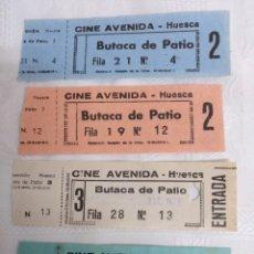 Cine: 4 ENTRADAS CINE AVENIDA.HUESCA.AÑOS 70. Lote 183442846