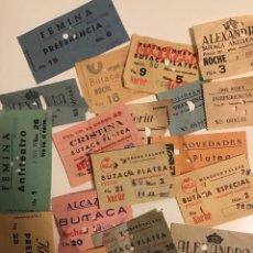 Cine: GRAN LOTE 20 ENTRADAS AÑOS 60 DISTINTOS CINES DE BARCELONA. Lote 183865012