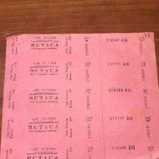 Cinéma: HOJA SIN CORTAR ENTRADAS CINE VICTORIA - CASTELSERAS - BUTACA 4 PTAS - VER DESCRIPCIÓN!. Lote 187180265