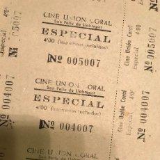 Cinéma: HOJA SIN CORTAR ENTRADAS CINE UNION CORAL- SAN FELIU LLOBREGAT (BARCELONA)- 4 PTAS -VER DESCRIPCIÓN!. Lote 190712067