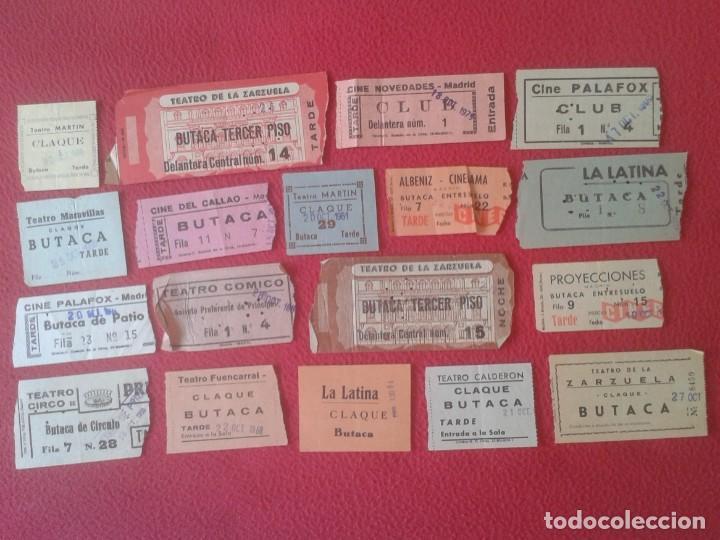 LOTE DE 18 ANTIGUAS ENTRADAS TICKETS BILLETE ENTRADA TICKET ENTRY ENTRANCE CINES Y TEATROS MADRID... (Cine - Entradas)