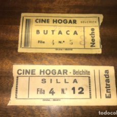 Cine: 2 ENTRADAS DIFERENTES CINE HOGAR BELCHITE ZARAGOZA. Lote 145568146