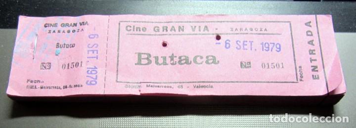 TACO COMPLETO 100 ENTRADAS CINE GRAN VIA ZARAGOZA 1979 CON MATRIZ COLOR ROSA (Cine - Entradas)