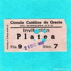 Cine: ENTRADA CIRCULO CATOLICO DE GRACIA CURIOSA POR SER DEL BARRIO DE GRACIA DE FECHA 12/1960. Lote 198654138