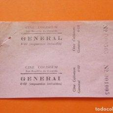 Cine: 2 ENTRADAS CINE COLISEUM - SAN BAUDILIO DE LLUSANÉS - SANT BOI DE LLUÇANÈS - AÑOS 40 - L773. Lote 200543782