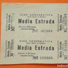 Cine: 2 ENTRADAS - CINE COOPERATIVA - SANTA MARIA DE BARBERÁ - 2 PESETAS - AÑOS 40 - L774. Lote 200575602