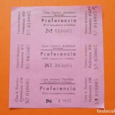 Cine: 3 ENTRADAS - CINE CENTRO ARTISTICO , MARTORELL , BARCELONA - 6 PESETAS - AÑOS 40 - SIN CORTAR - L778. Lote 200577578