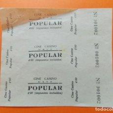 Cine: 3 ENTRADAS POPULAR - CINE CASINO , GAVÁ , BARCELONA - 4 PESETAS - AÑOS 40 - SIN CORTAR - L779. Lote 200577882