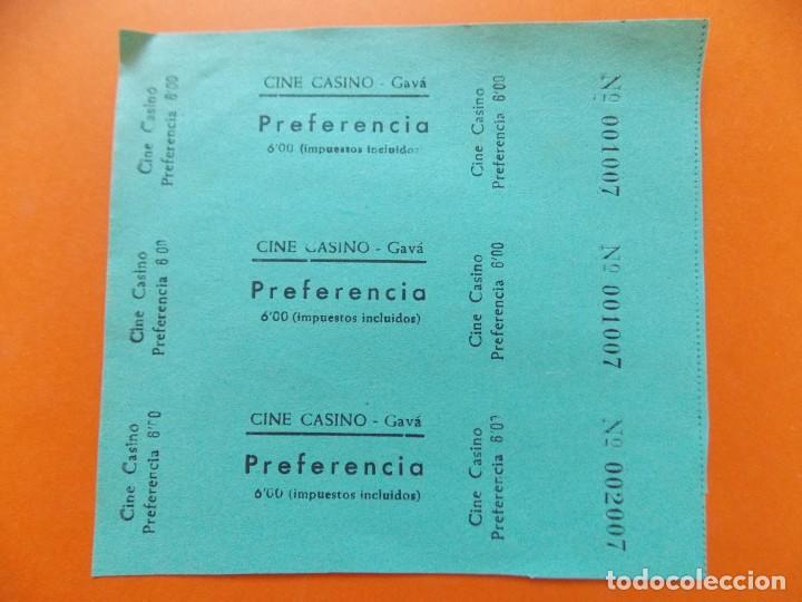 3 ENTRADAS PREFERENCIA - CINE CASINO , GAVÁ , BARCELONA - 6 PESETAS - AÑOS 40 - SIN CORTAR - L780 (Cine - Entradas)