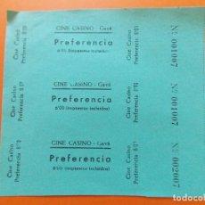 Cine: 3 ENTRADAS PREFERENCIA - CINE CASINO , GAVÁ , BARCELONA - 6 PESETAS - AÑOS 40 - SIN CORTAR - L780. Lote 200578078