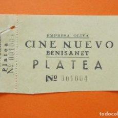 Cine: ENTRADA PLATEA - CINE NUEVO - BENISANET, BENISSANET - TARRAGONA - EMPRESA OLIVA - AÑOS 40 - L785. Lote 200580535