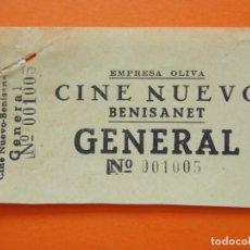 Cine: ENTRADA GENERAL - CINE NUEVO - BENISANET, BENISSANET - TARRAGONA - EMPRESA OLIVA - AÑOS 40 - L786. Lote 200580781
