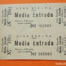 Cine: 2 ENTRADAS - CINE ESPAÑA - POLIÑÁ , POLINYÁ - BARCELONA - AÑOS 40 - 2 PESETAS - .. L787. Lote 200581242