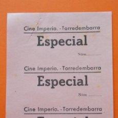 Cine: 3 ENTRADAS ESPECIAL - CINE IMPERIO - TORREDEMBARRA - TARRAGONA - AÑOS 40 - SIN CORTAR .. L788. Lote 200581493