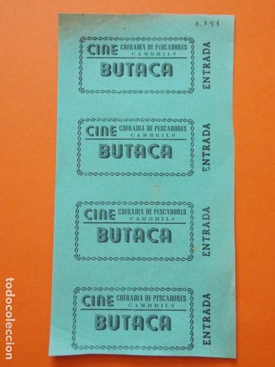 4 ENTRADAS - CINE COFRADIA DE PESCADORES - CAMBRILS - TARRAGONA - AÑOS 40 - SIN CORTAR .. L789 (Cine - Entradas)