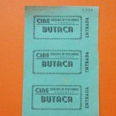 Cine: 4 ENTRADAS - CINE COFRADIA DE PESCADORES - CAMBRILS - TARRAGONA - AÑOS 40 - SIN CORTAR .. L789. Lote 200582077