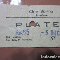 Cine: ENTRADA - CINE SPRING BARCELONA AÑOS 70 COLOR AMARILLO. Lote 200753871