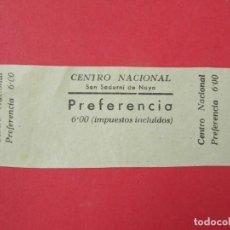 Cine: ENTRADA PREFERENCIA - CINE CENTRO NACIONAL, SAN SADURNÍ DE NOYA, BARCELONA, 6 PESETAS, AÑOS 40..L873. Lote 201199135