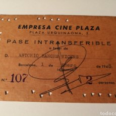 Cine: EMPRESA CINE PLAZA. BARCELONA. PASE INTRANSFERIBLE. 1948. Lote 203929332