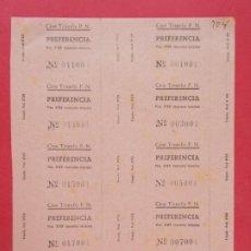 Cine: 10 ENTRADAS CINE TRIUNFO, BARCELONA, AÑOS 40 - HOJA SIN CORTAR.. L1077. Lote 205099580