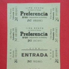 Cine: 4 ENTRADAS CINE NUEVO, SAN QUIRICO DE TARRASA, TERRASSA, BARCELONA, AÑOS 40, HOJA SIN CORTAR.. L1084. Lote 205108842