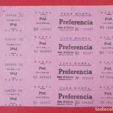 Cine: 4 ENTRADAS CINE HORTA, BARCELONA, AÑOS 40, HOJA SIN CORTAR.. L1087. Lote 205113425