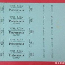Cine: 5 ENTRADAS CINE ROSA, SAN BAUDILLO DE LLOBREGAT, BARCELONA, AÑOS 40, HOJA SIN CORTAR.. L1091. Lote 205114832