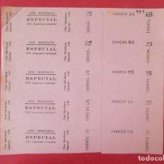 Cinéma: 5 ENTRADAS CINE MERIDIANA, BARCELONA, AÑOS 40, HOJA SIN CORTAR.. L1093. Lote 205116622