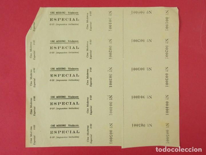 5 ENTRADAS CINE MODERNO VILADECANS, BARCELONA, AÑOS 40, HOJA SIN CORTAR.. L1094 (Cine - Entradas)