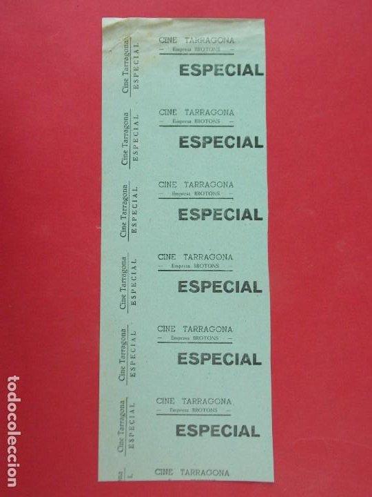 6 ENTRADAS CINE TARRAGONA, EMPRESA BROTONS, AÑOS 40, HOJA SIN CORTAR.. L1097 (Cine - Entradas)