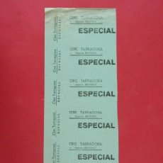 Cine: 6 ENTRADAS CINE TARRAGONA, EMPRESA BROTONS, AÑOS 40, HOJA SIN CORTAR.. L1097. Lote 205118452