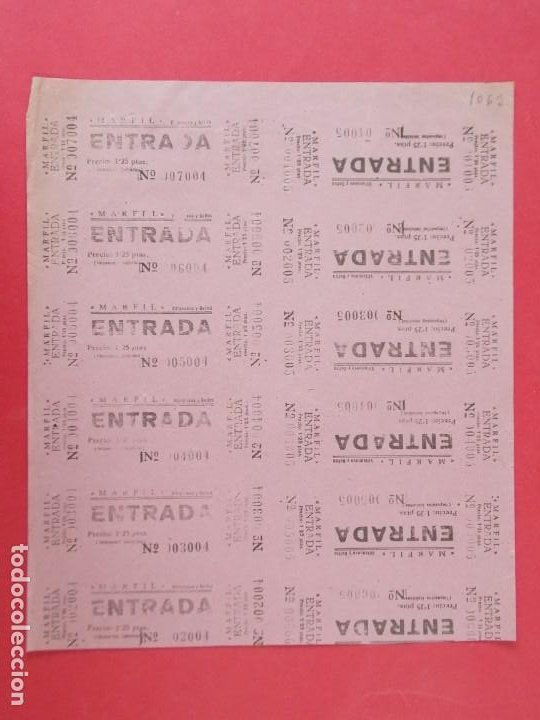 12 ENTRADAS CINE MARFIL, VILANOVA ,VILLANUEVA Y GELTRÚ - BARCELONA, AÑOS 40, HOJA SIN CORTAR.. L1113 (Cine - Entradas)
