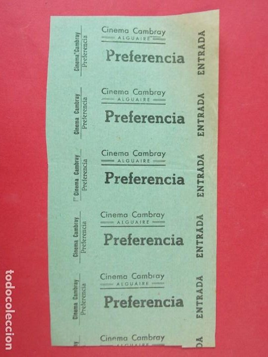 5 ENTRADAS CINEMA CAMBRAY, ALGUAIRE - LERIDA,LLEIDA - AÑOS 40, HOJA SIN CORTAR.. L1116 (Cine - Entradas)