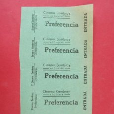 Cinéma: 5 ENTRADAS CINEMA CAMBRAY, ALGUAIRE - LERIDA,LLEIDA - AÑOS 40, HOJA SIN CORTAR.. L1116. Lote 205126040
