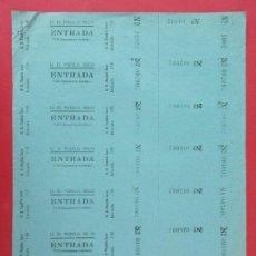 Cine: 7 ENTRADAS U.D PUEBLO SECO - BARCELONA, AÑOS 40, HOJA SIN CORTAR.. L1126. Lote 205245816