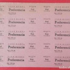 Cine: 10 ENTRADAS CINE HORTA - BARCELONA, AÑOS 40, HOJA SIN CORTAR.. L1127. Lote 205246071
