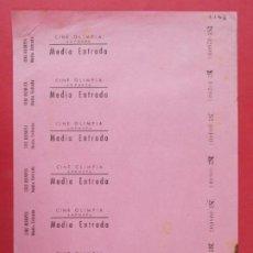 Cinéma: 7 ENTRADAS CINE OLIMPIA - AMPOSTA, TARRAGONA - AÑOS 40, HOJA SIN CORTAR.. L1132. Lote 205258821
