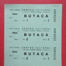 Cinéma: 4 ENTRADAS CENTRO CULTURAL - RAPITA (MONJOS), BARCELONA - AÑOS 40, HOJA SIN CORTAR.. L1136. Lote 205261467