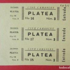 Cine: 3 ENTRADAS CINE CAMARLES - AÑOS 40, HOJA SIN CORTAR.. L1137. Lote 205261763