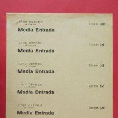 Cine: 6 ENTRADAS CINE ORPHEO - LA CANONJA, TARRAGONA - AÑOS 40, HOJA SIN CORTAR.. L1138. Lote 205262022