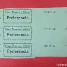Cine: 3 ENTRADAS CINE NUEVO - ALFORJA, TARRAGONA - AÑOS 40, HOJA SIN CORTAR.. L1139. Lote 205262210
