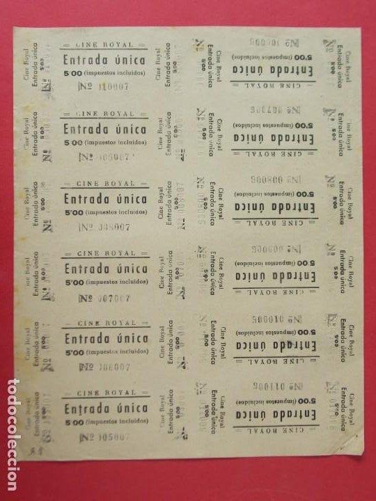 12 ENTRADAS CINE ROYAL - AÑOS 40, HOJA SIN CORTAR.. L1140 (Cine - Entradas)