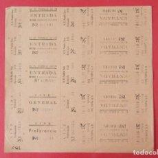 Cine: 10 ENTRADAS U.D PUEBLO SECO - BARCELONA - AÑOS 40, HOJA SIN CORTAR.. L1145. Lote 205649781