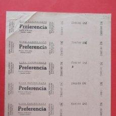 Cine: 6 ENTRADAS CINE CASINO- GAVÁ - BARCELONA - AÑOS 40, HOJA SIN CORTAR.. L1149. Lote 205650522