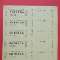 Cine: 6 ENTRADAS CINE MARFIL - VILLANUEVA Y GELTRÚ - BARCELONA - AÑOS 40, HOJA SIN CORTAR.. L1157. Lote 205653165